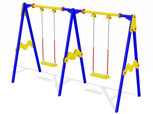 Качели 2-м на 3-х стойках и цепях