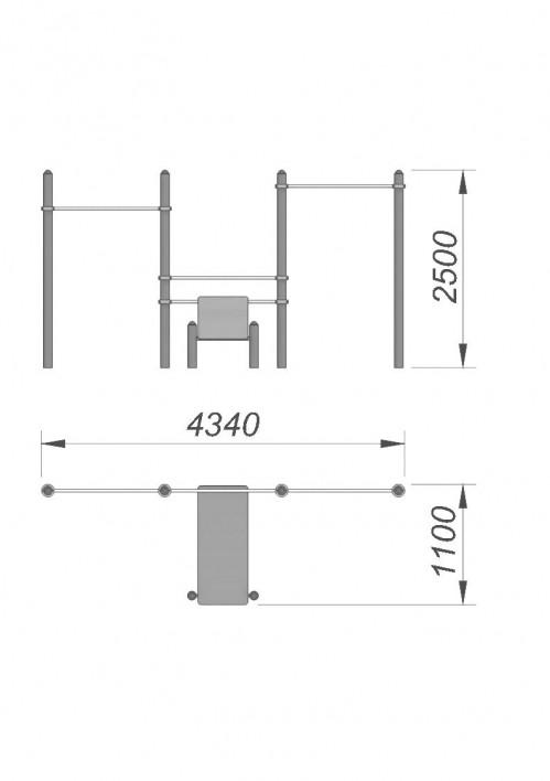 3778 Турник со скамьей для пресса СХ-27, фото №2