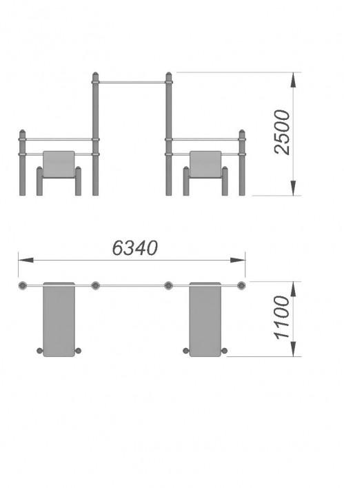 3779 Турник со скамьей для пресса СХ-28, фото №2