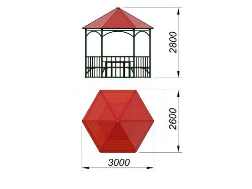 4123 Беседка шестигранная со столом, фото №2