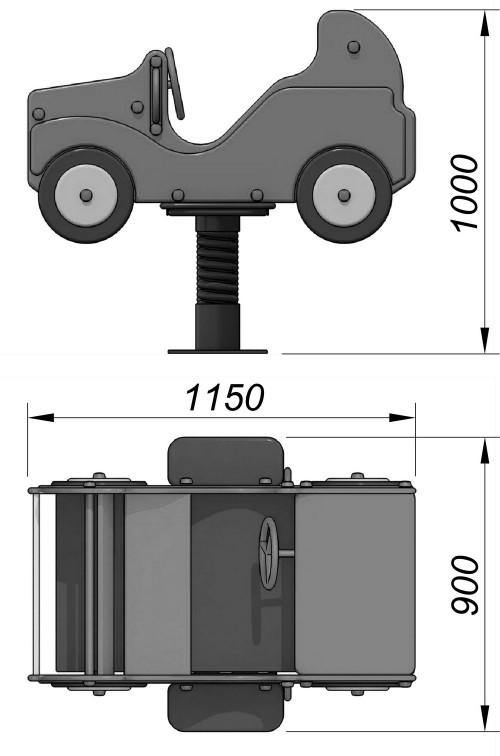 1240-2 Качалка на пружине Кабриолет, фото №2
