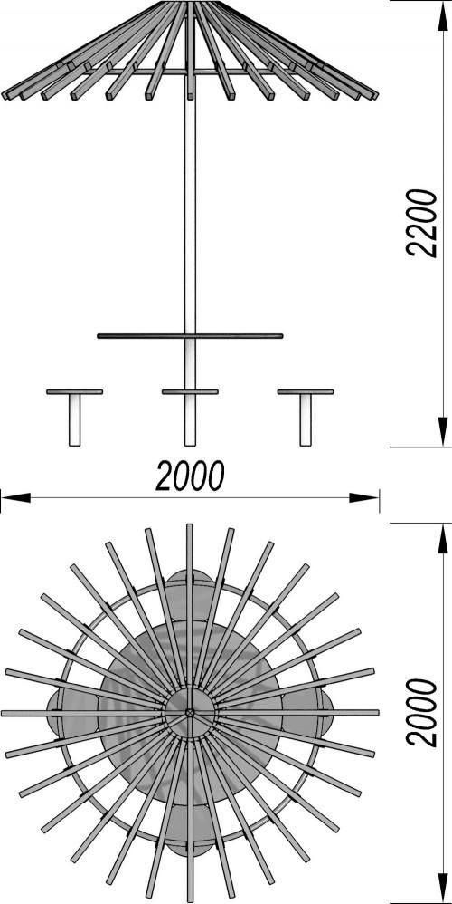 4000 Детский комплекс (стол, зонтик, 4 стульчика), фото №2