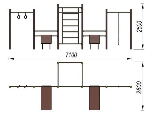 3720 Спортивный комплекс для воркаут Тип 5, фото №2