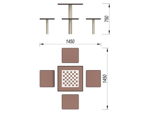 3516 Шахматный стол, фото №2