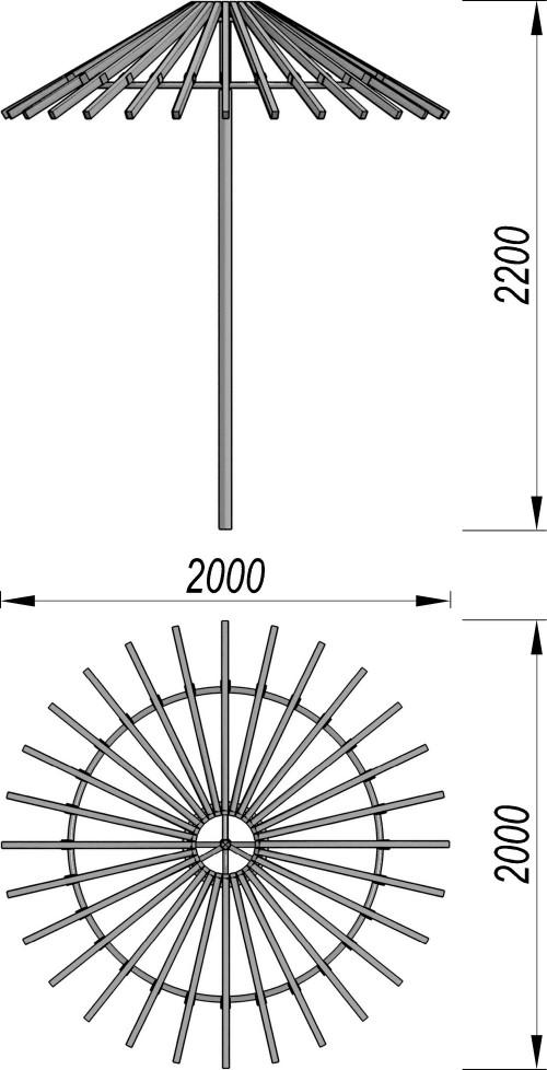 1550 Зонтик теневой, фото №2