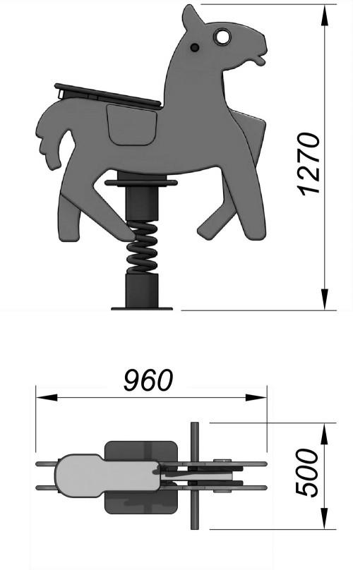 1220-2 Качалка на пружине Лошадка, фото №2