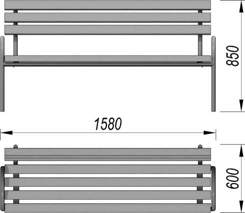 1605 Лавочка парковая со спинкой, фото №2