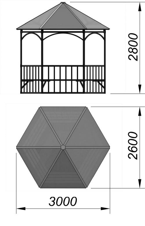 4122 Беседка шестигранная, фото №2